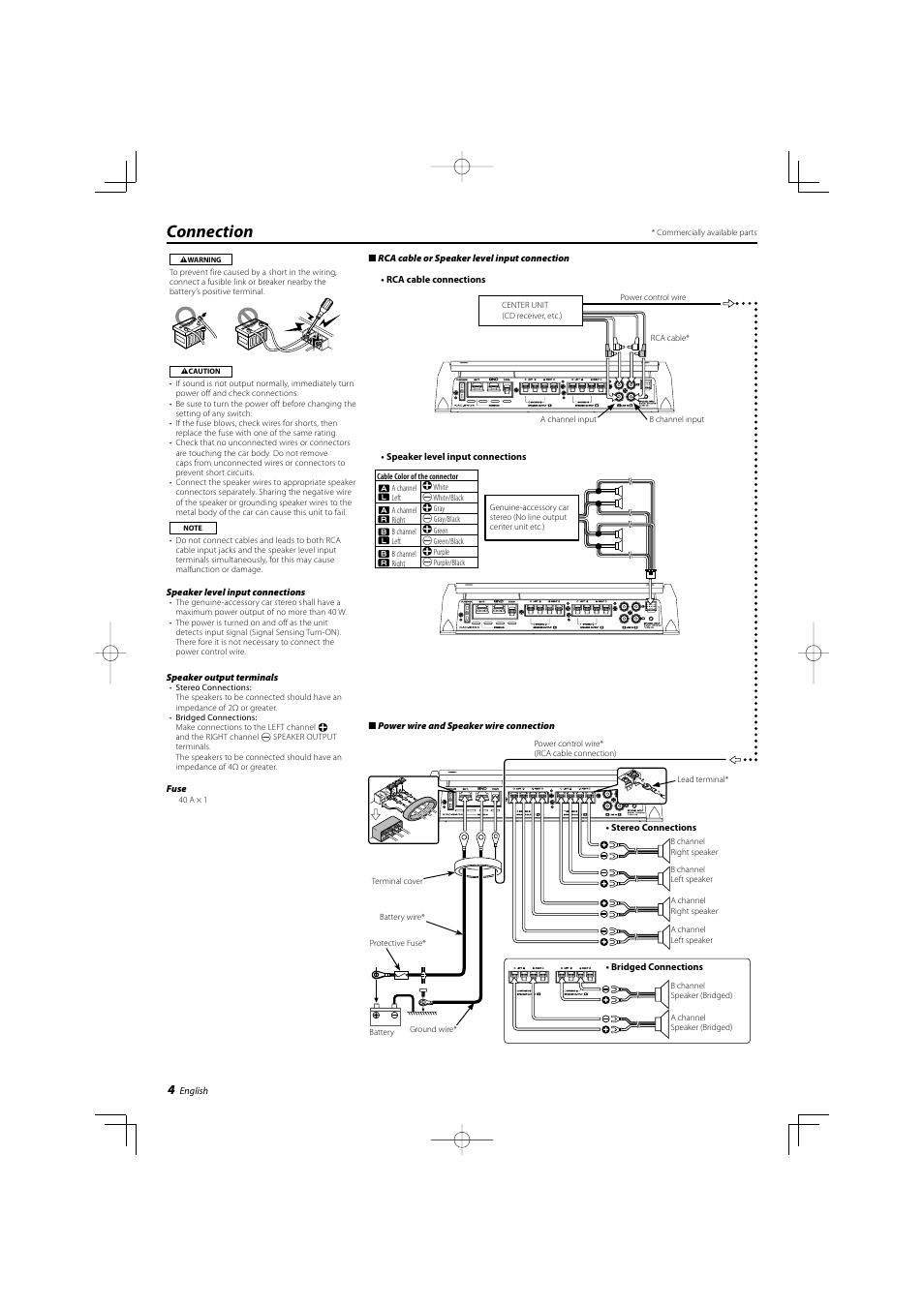 connection kenwood kac 8404 user manual page 4 6 original mode rh manualsdir com Kenwood Kac- 8452 Kenwood Amplifier 301T