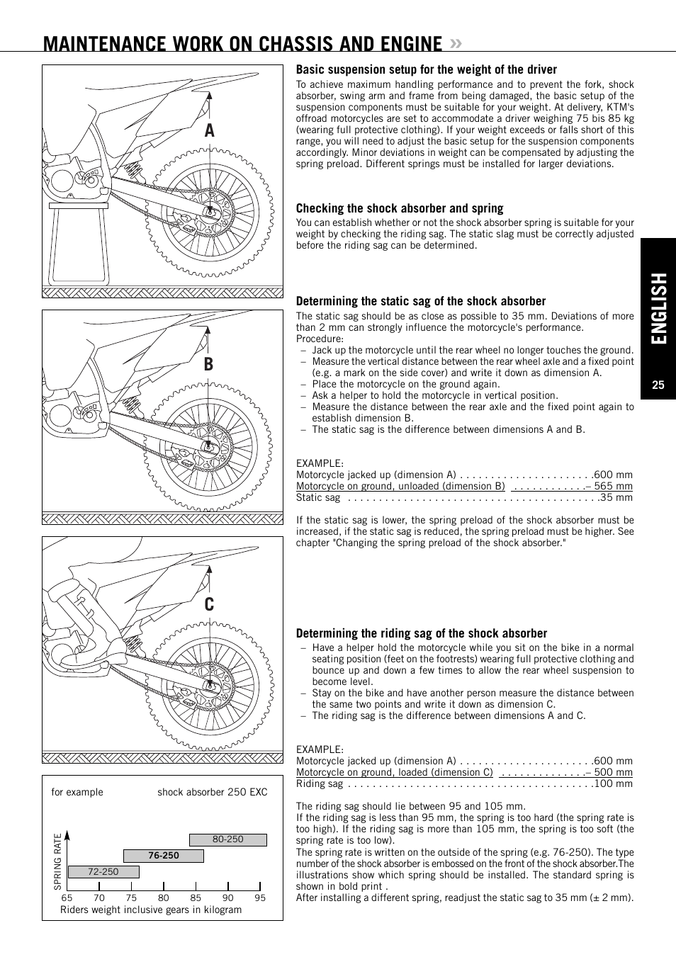 English Maintenance Work On Chassis And Engine Ab C Ktm Exc 200 250 Diagram Xc