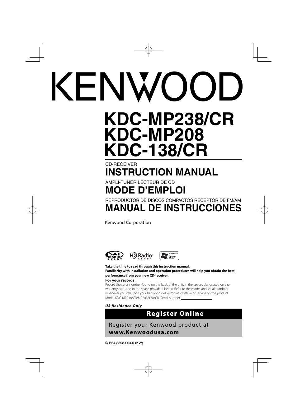 kenwood kdc 138 user manual 56 pages also for kdc 138cr kdc rh manualsdir com Kenwood Wiring-Diagram Kenwood MP238 Manual