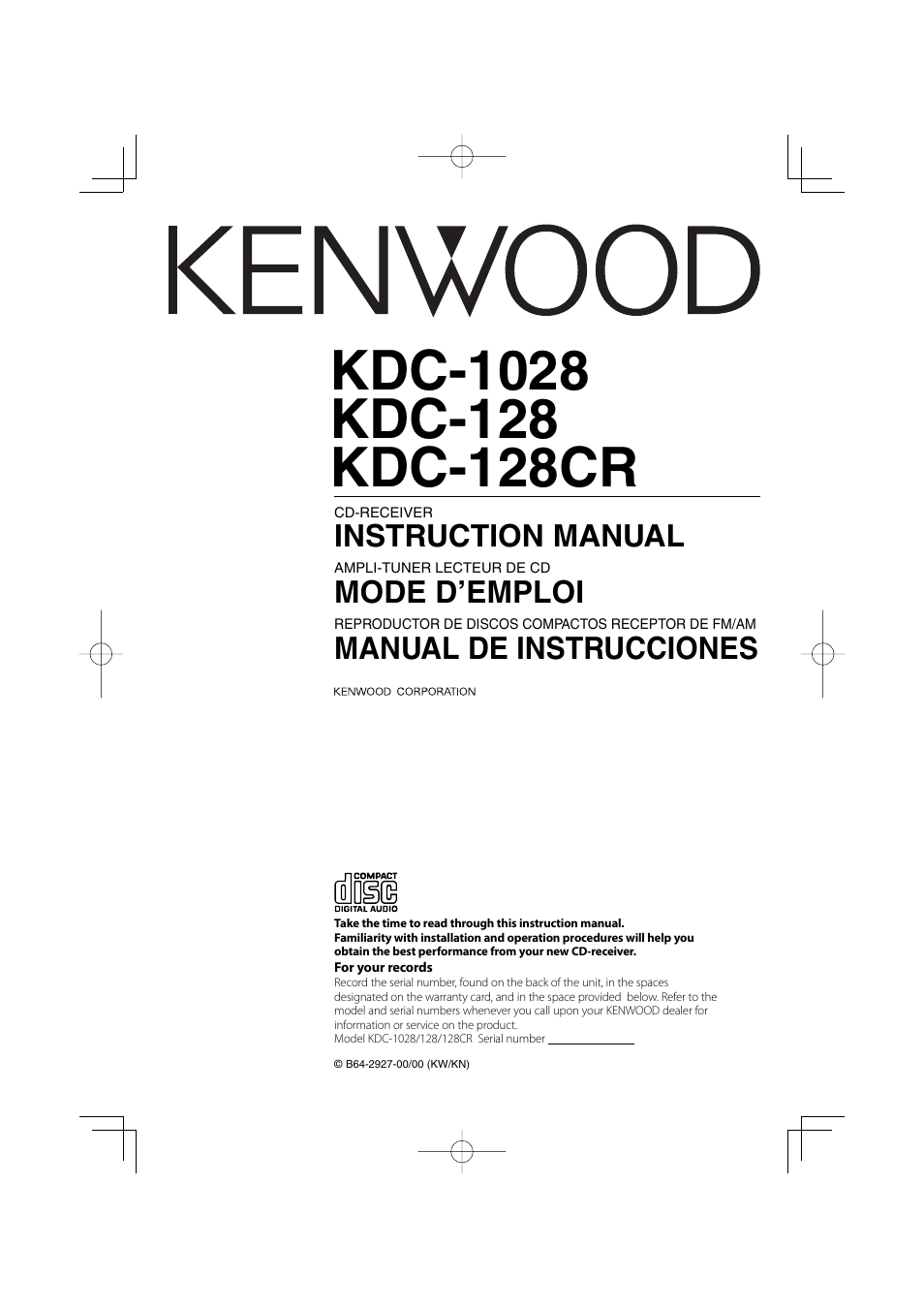 Kenwood Kdc 128 Wiring Diagram Best Electrical Circuit 1028 128cr User Manual 72 Pages Also For Rh Manualsdir Com 205 Radio