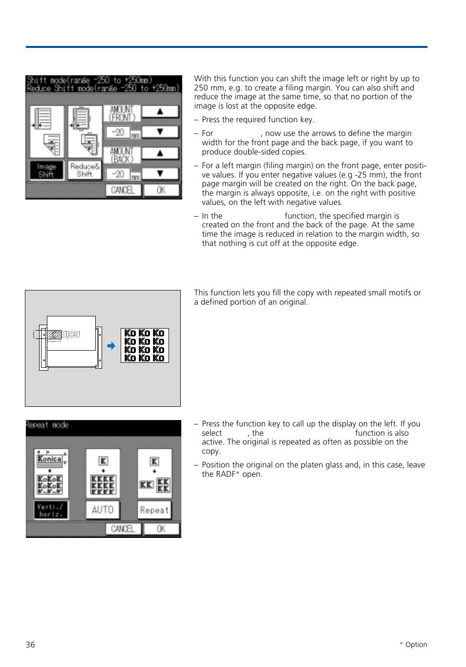 special functions 4 image shift 5 image repeat konica minolta rh manualsdir  com Konica Copier 720 Konica 7020 Printer