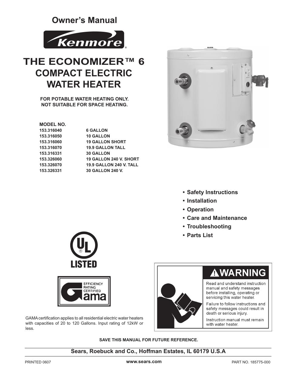 Kenmore Electric Water Heater Wiring Diagram : Sears electric water heater wiring diagram of