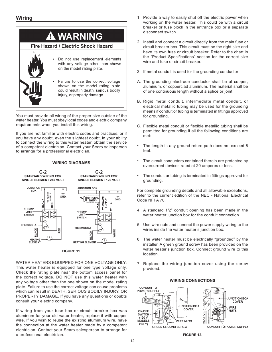 wiring | kenmore the economizer(tm) 6 compact electric 153 31604 user  manual | page 12 / 24