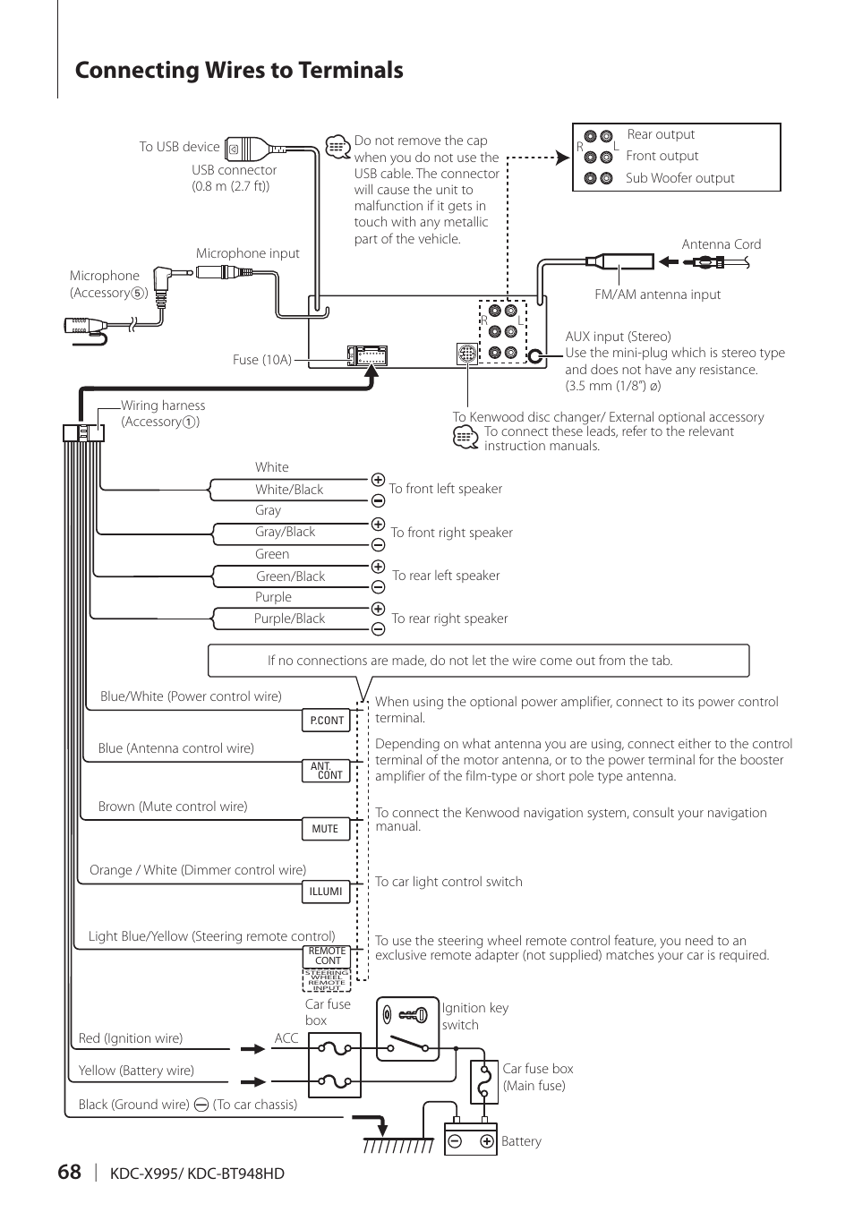Connecting Wires To Terminals Kenwood Kdc Bt948hd User Manual Page 68 76