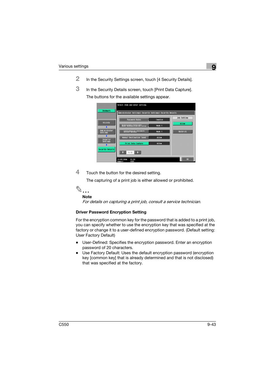 Driver password encryption setting, Driver password encryption setting -43    Konica Minolta bizhub C550