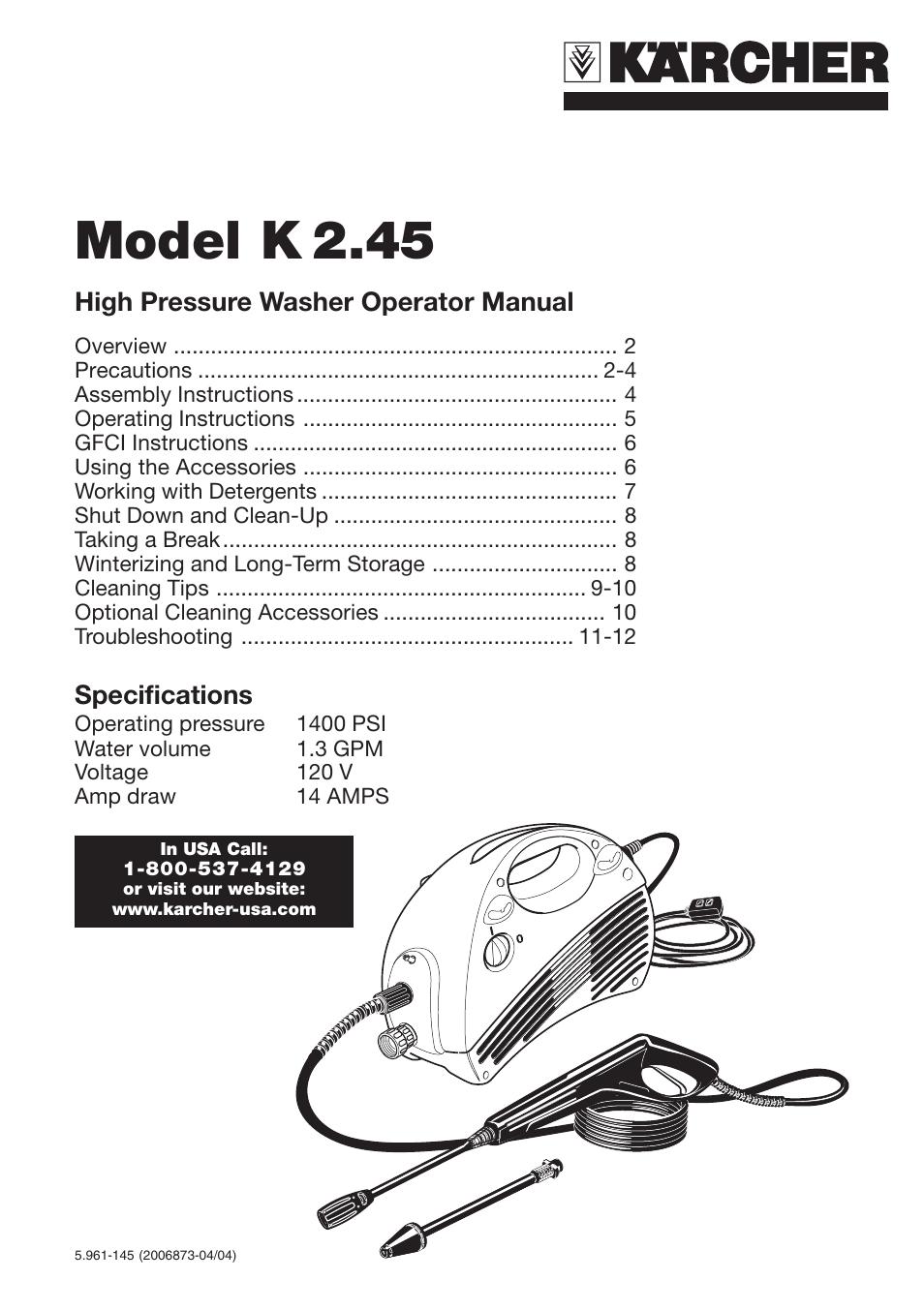karcher pressure washer user manual