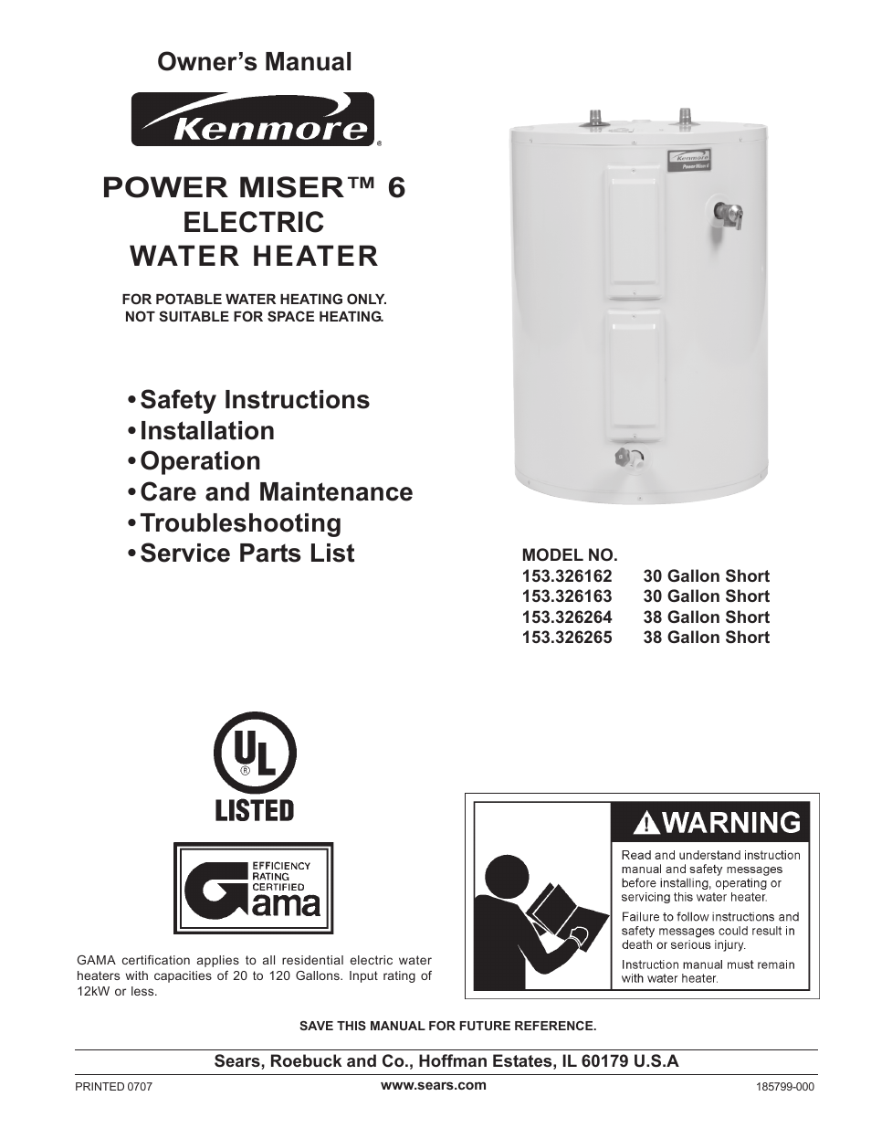Sears Electric Water Heater Wiring Diagram Simple Thermostat Kenmore Power Miser 153 326265 User Manual 28 Pages Also For