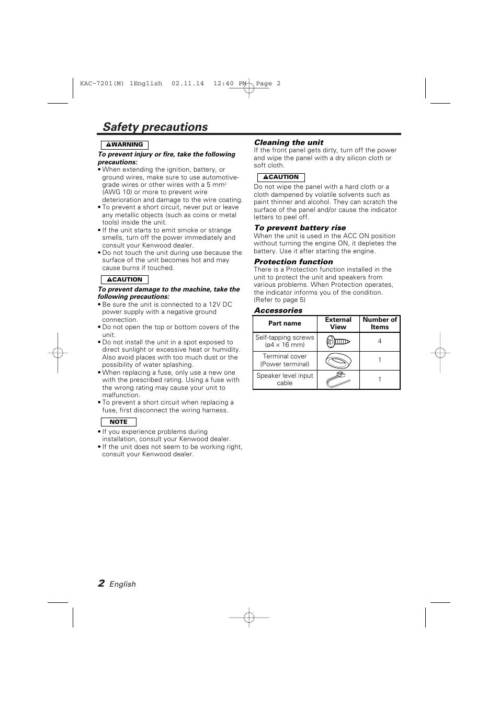 safety precautions kenwood kac 7201 user manual page 2 12 rh manualsdir com Kenwood Amp Kenwood 800W Amp