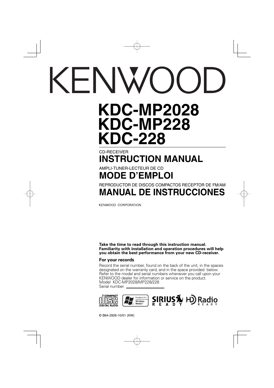 Kenwood Kdc Mp228 Manual Browse Guides 252u Cd Player Wiring Diagram 228 User 96 Pages Rh Manualsdir Com Harness