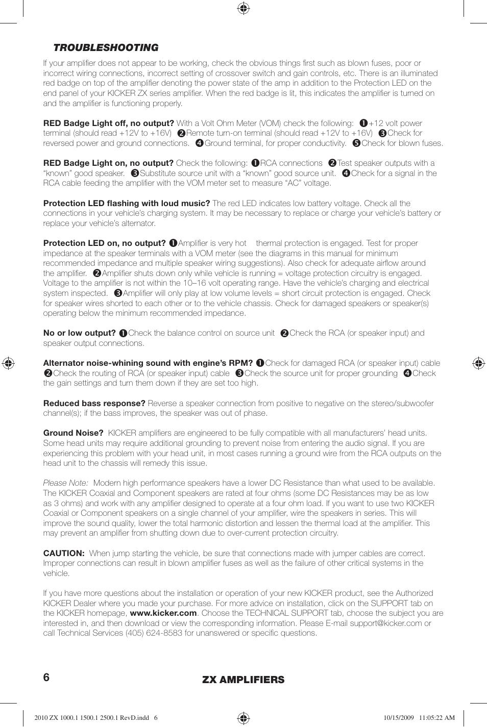 Kicker ZX2500 1 EU User Manual | Page 6 / 28 | Also for: ZX1500 1 EU