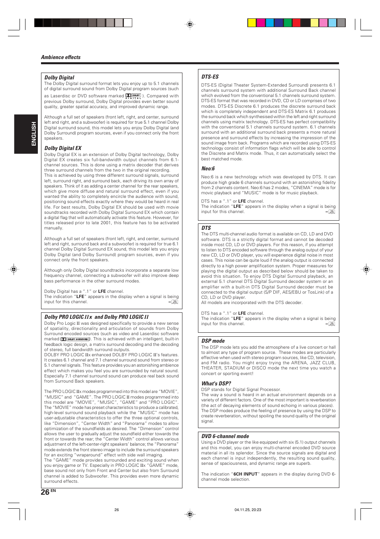 Kenwood KRF-V5090D User Manual   Page 26 / 36