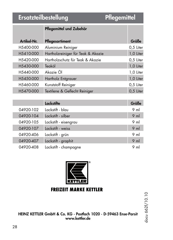 Ersatzteilbestellung Pflegemittel Kettler 01072 000 User Manual