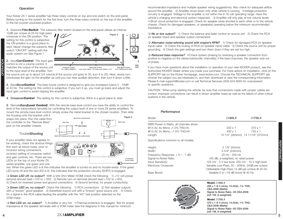 zx 1amplifier kicker zx400 1 user manual page 3 4 Audio Control Wiring Diagram