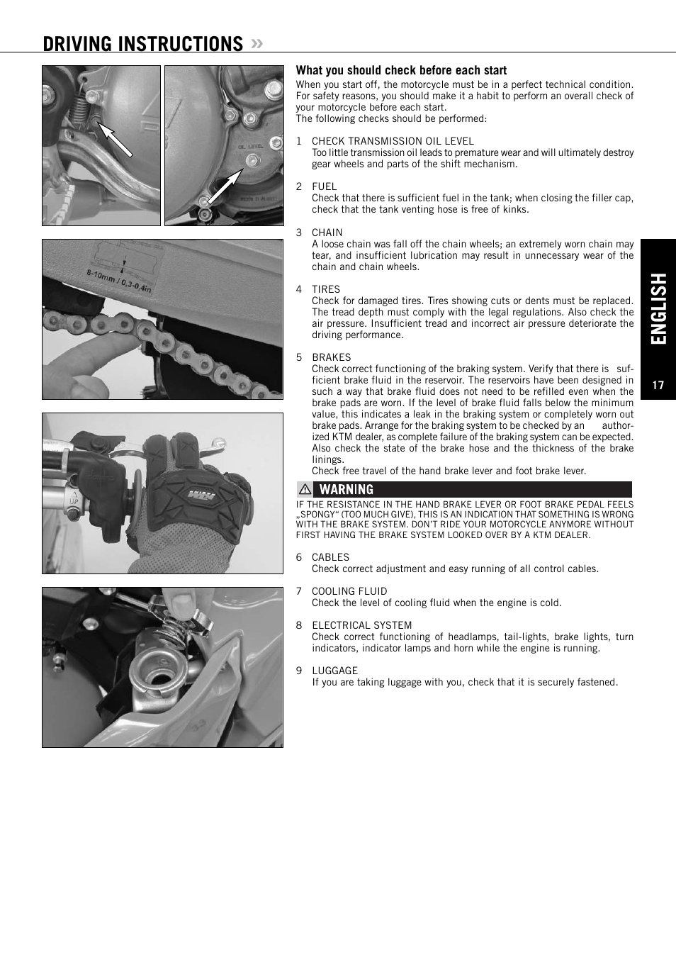 english driving instructions ktm xc w 250 sx user manual page rh manualsdir com 2017 ktm 250 sx owner's manual 2004 ktm 250 sx owner's manual