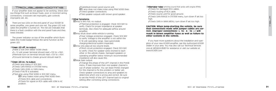 Troubleshooting | Kicker SX500 2 User Manual | Page 16 / 20