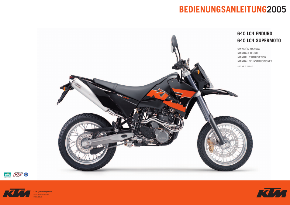 ktm enduro supermoto 640 lc4 user manual 60 pages rh manualsdir com ktm lc4 640 manual pdf ktm lc4 620 manual
