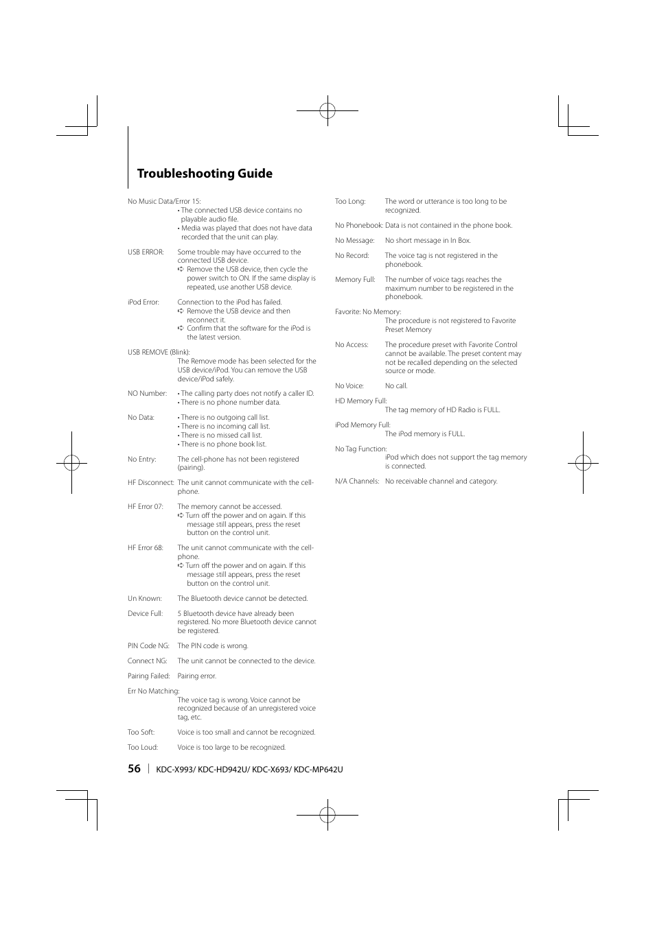 Troubleshooting guide | Kenwood KDC-MP642U User Manual