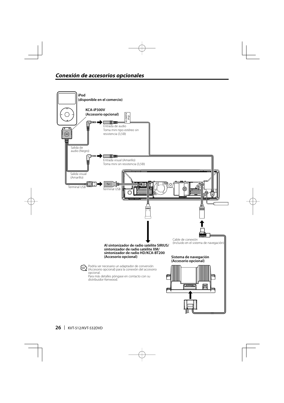 Kenwood Kvt 516 Installation Manual Wiring Diagram Conexi N De Accesorios Opcionales 532 User Rh Manualsdir Com