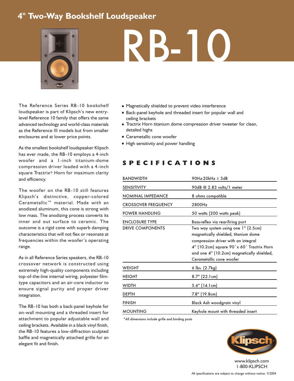 Klipsch Reference Series Rb 10 User Manual 1 Page Wiring Speakers