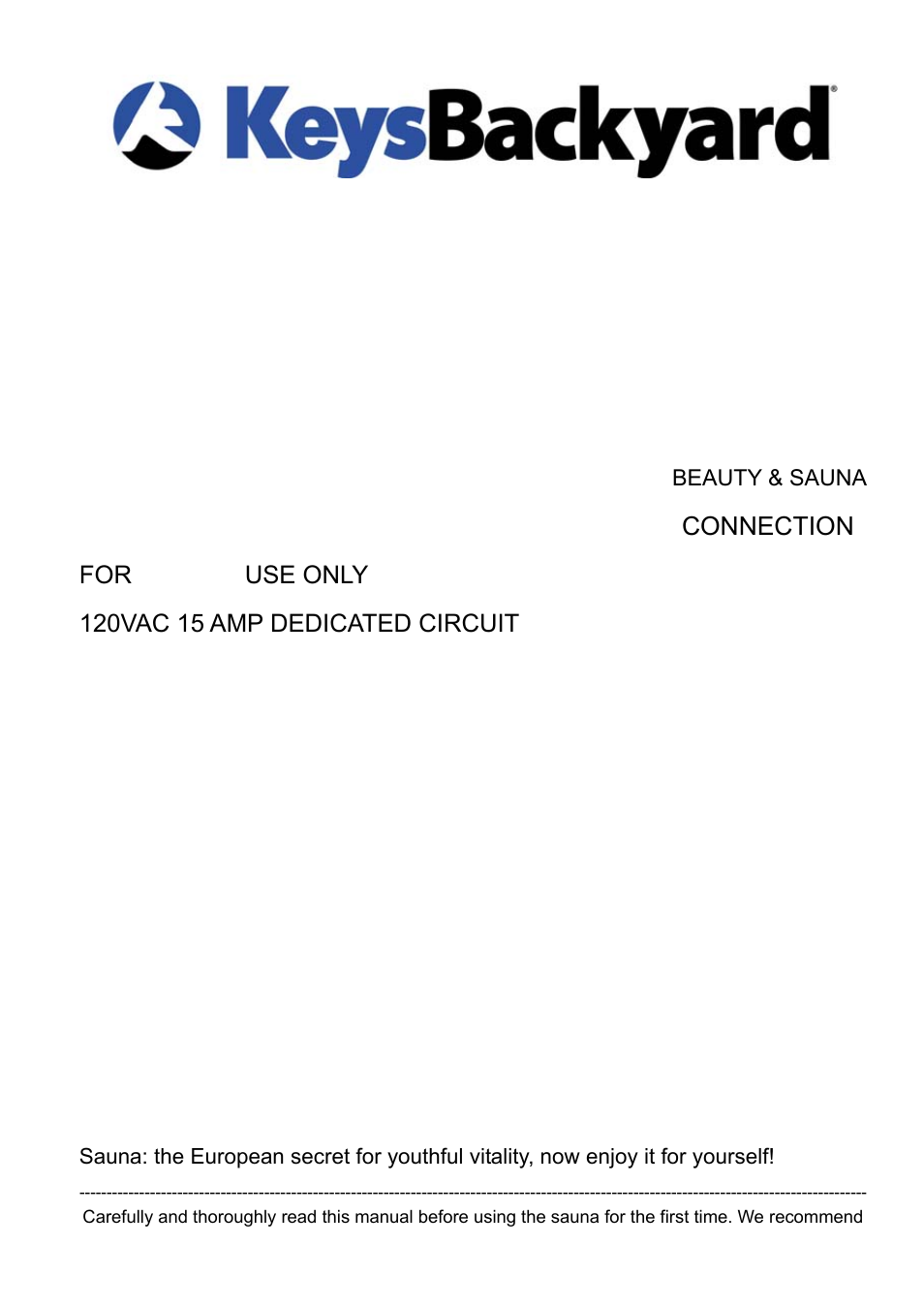 keys fitness 1 2 person sauna bs 9101 user manual 18 pages