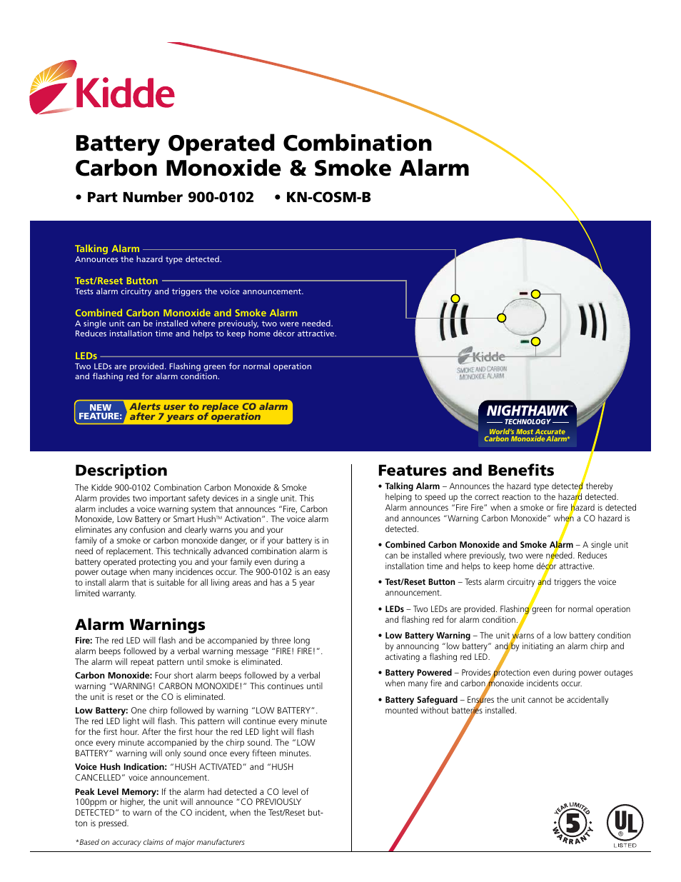 Kidde Combination Smoke and Carbon Monoxide Alarm KN-COSM-B User Manual   2  pages