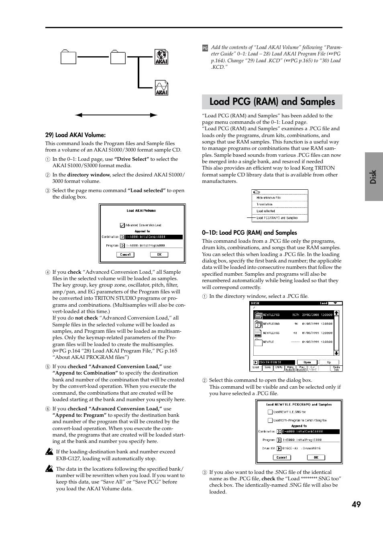 Load pcg (ram) and samples, Command, P 49) | KORG TRITON STUDIO V2