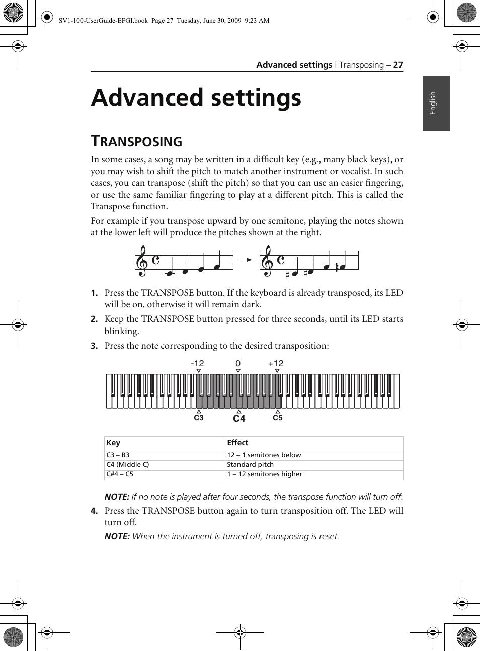 Advanced settings, Transposing, Ransposing | KORG STAGE