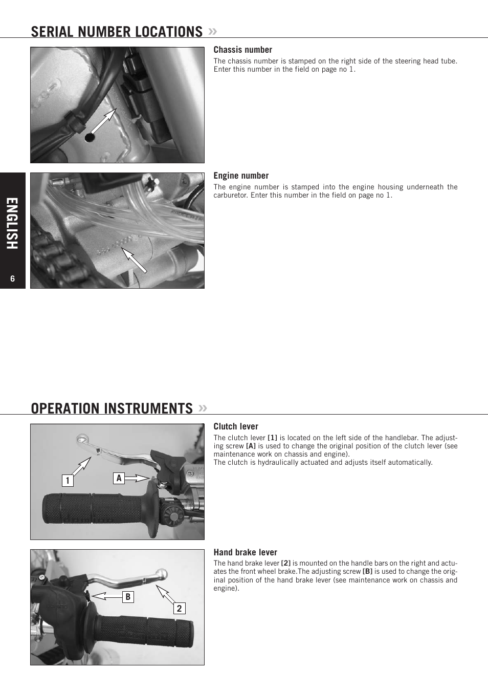 English, Serial number locations, Operation instruments