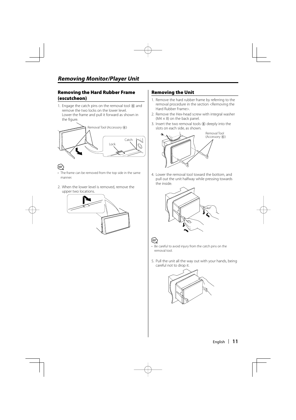 removing monitor player unit kenwood dnx7100 user manual page 11 rh manualsdir com