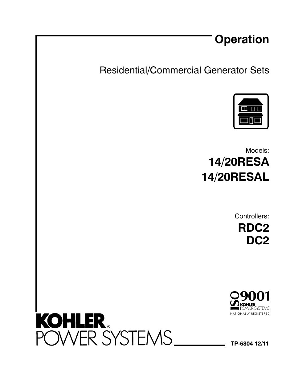 Kohler Power Systems 14/20RESA User Manual | 72 pages | Also for: Power  Systems 14/20RESAL