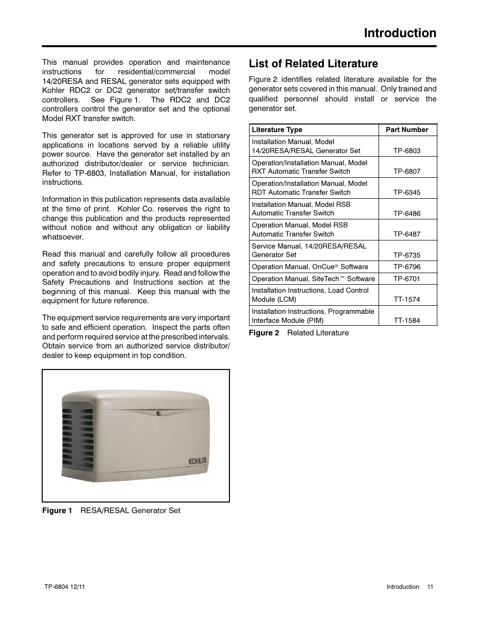 Introduction, List of related literature | Kohler Power Systems 14/20RESA  User Manual | Page 11 / 72