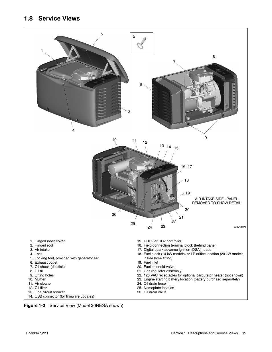 8 service views | Kohler Power Systems 14/20RESA User Manual | Page 19 / 72