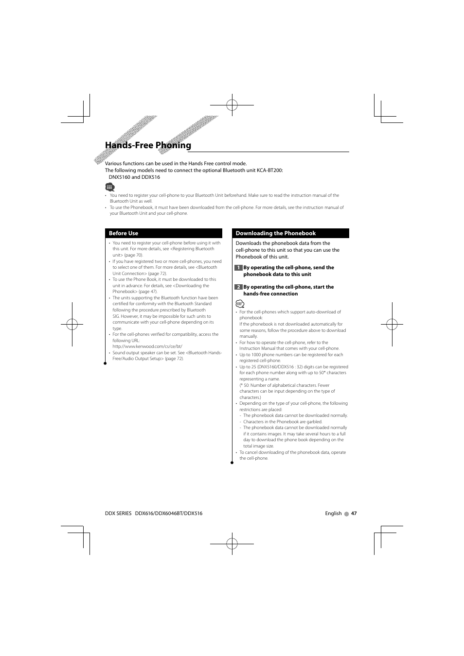 hands free phoning kenwood dnx6160 user manual page 47 100 rh manualsdir com Kenwood DNX6160 iPod Cable Kenwood DNX 6160 Review
