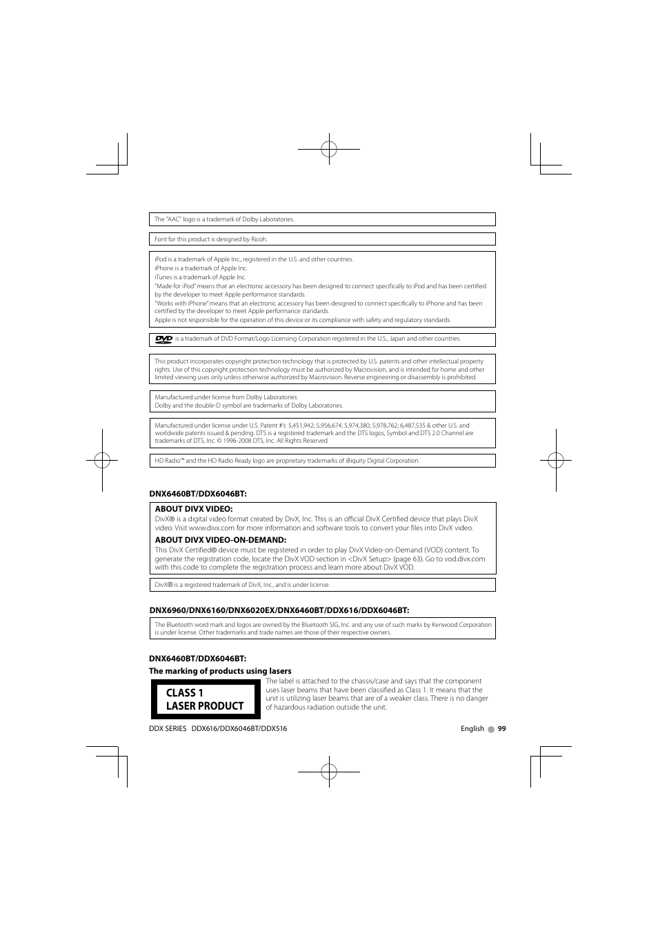 class 1 laser product kenwood dnx6160 user manual page 99 100 rh manualsdir com Kenwood DNX6160 Back Kenwood DNX6160 Updates