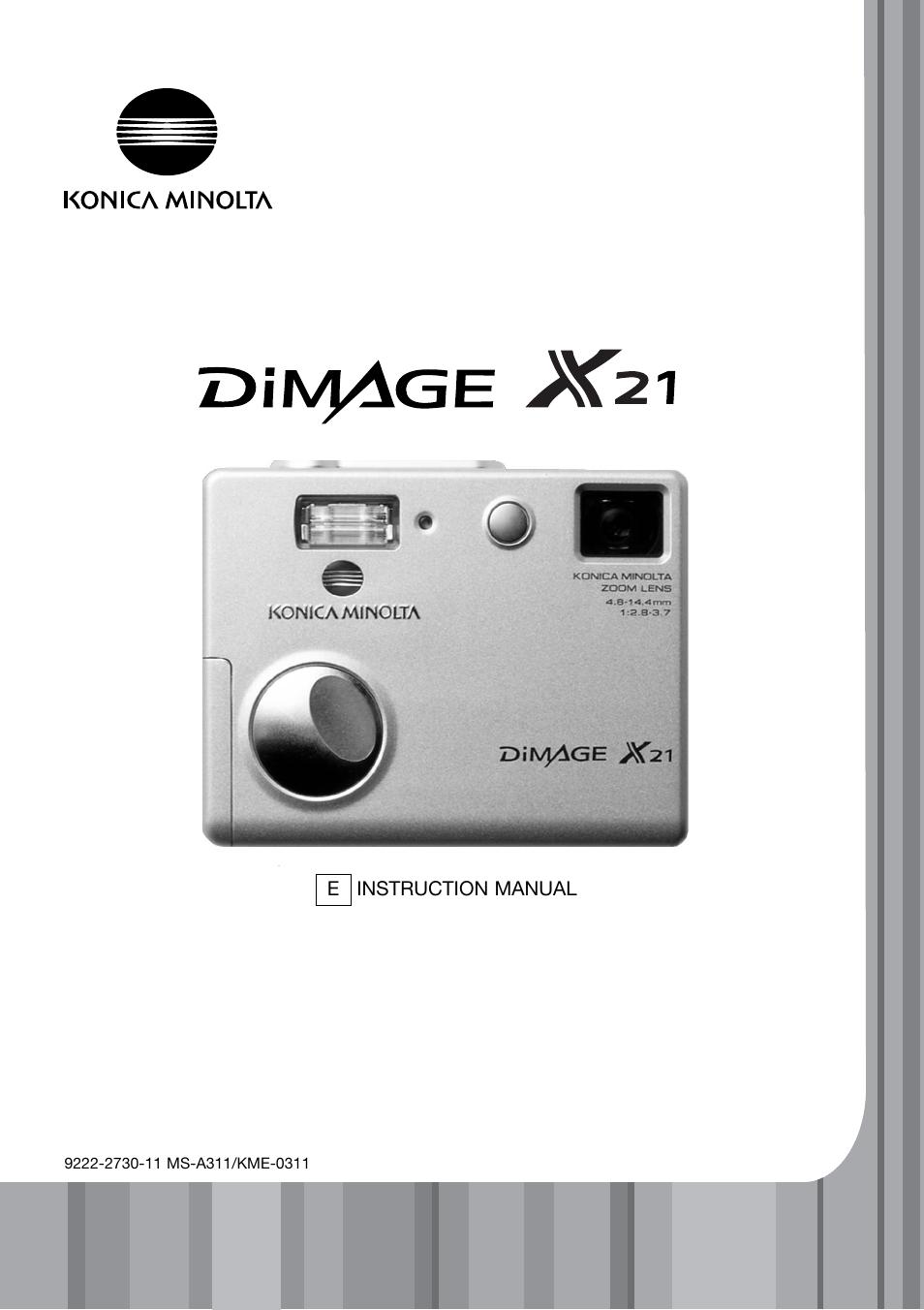 Konica Minolta DiMAGE X21 User Manual | 112 pages