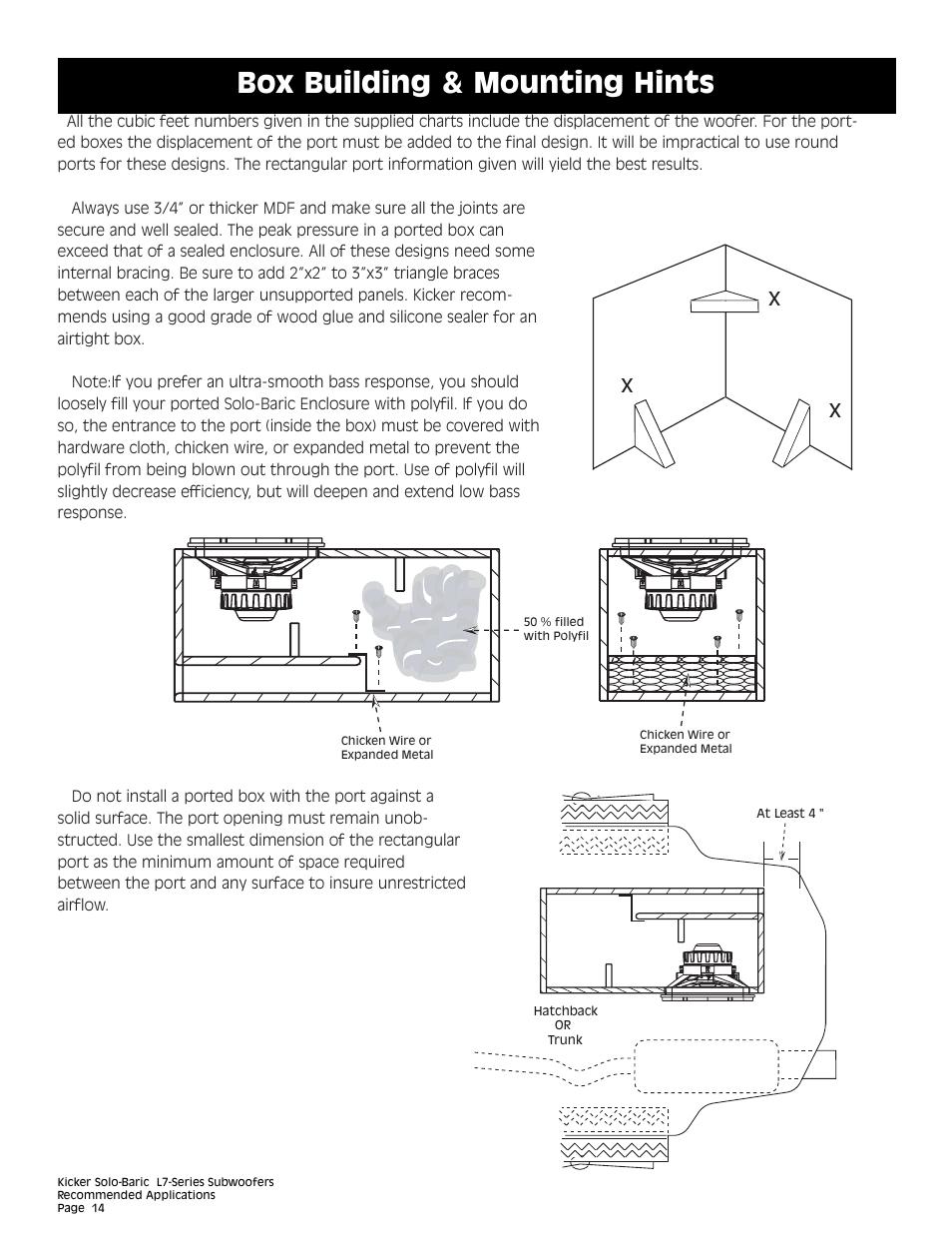 Box building & mounting hints | Kicker L7 User Manual | Page 14 / 36