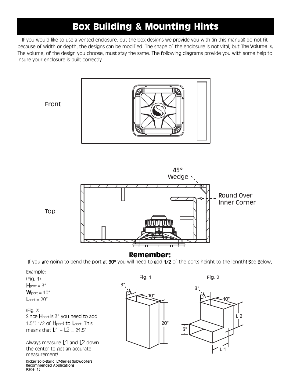 Box building & mounting hints, Remember | Kicker L7 User Manual | Page 15 /  36