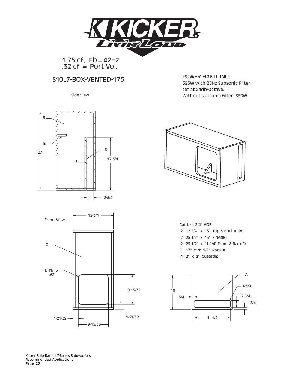 Power handling | Kicker L7 User Manual | Page 23 / 36