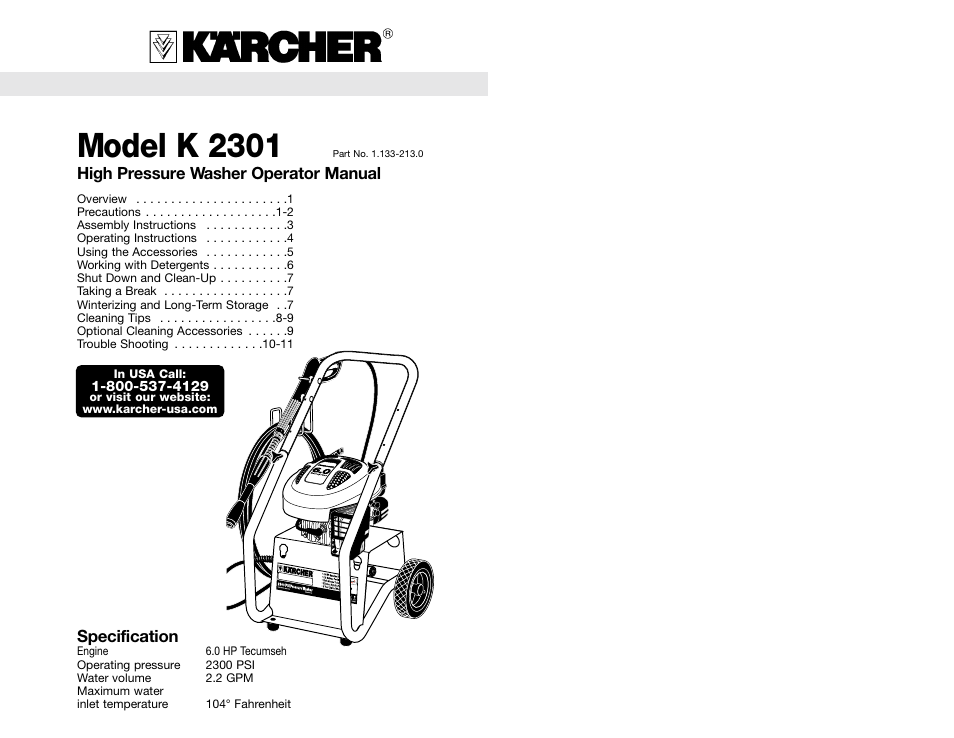 Karcher K 2301 User Manual 7 Pages Also For G 2301 Lt G 2300 Lt