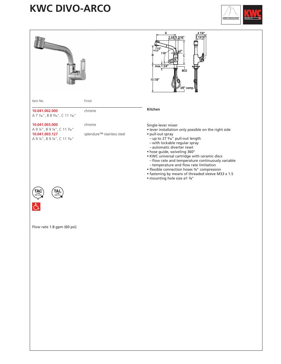 kwc divo arco 10 041 002 user manual 1 page also for divo arco rh manualsdir com