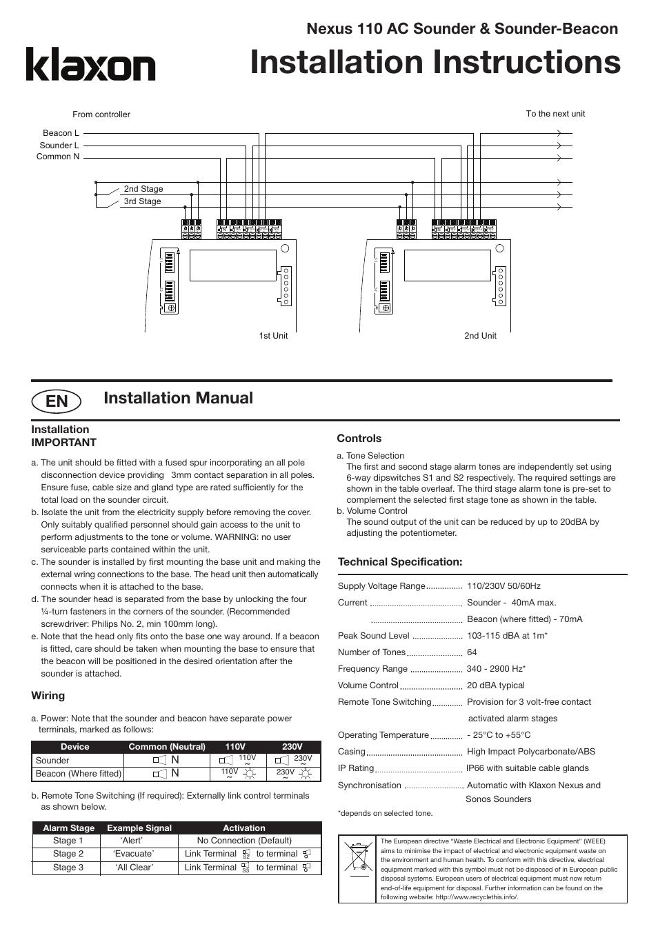 Nexos english 110 ac _layout 1, Installation instructions, Installation  manual | Nexus 110 ac