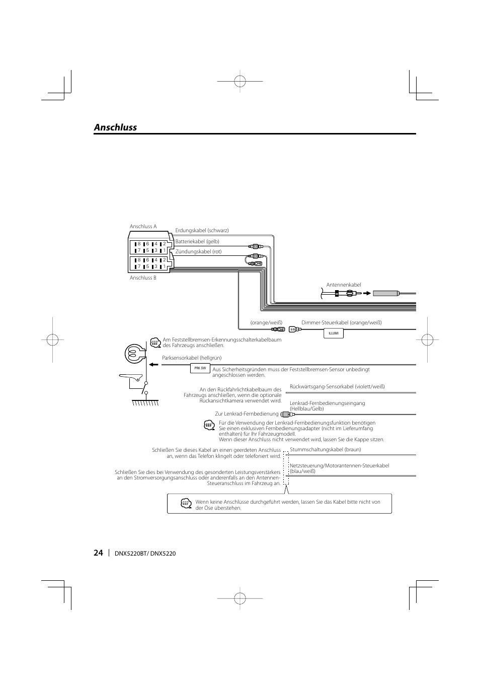 Anschluss | Kenwood DNX5220BT User Manual | Page 24 / 72