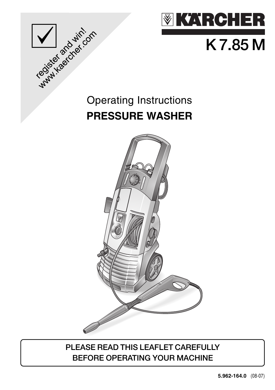 karcher k 7 85 m user manual