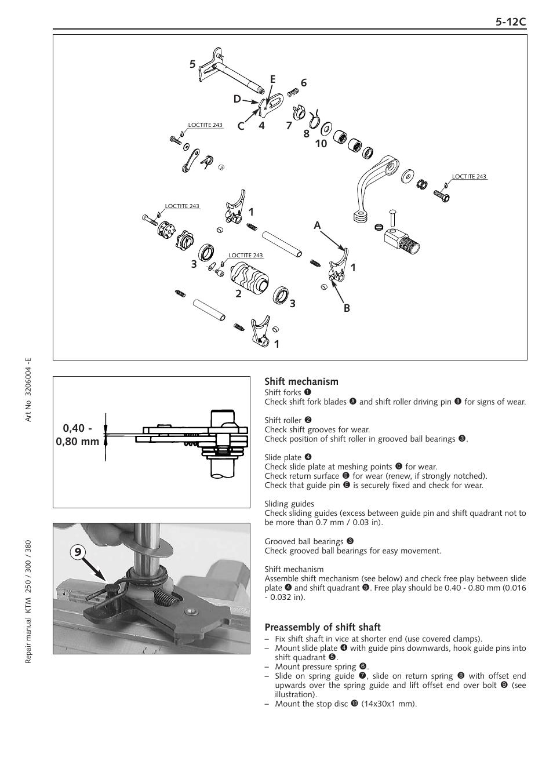 shift mechanism preassembly of shift shaft ktm 250 sx user manual rh manualsdir com 2008 ktm 250 sx owner's manual 2009 ktm 250 sx owner's manual