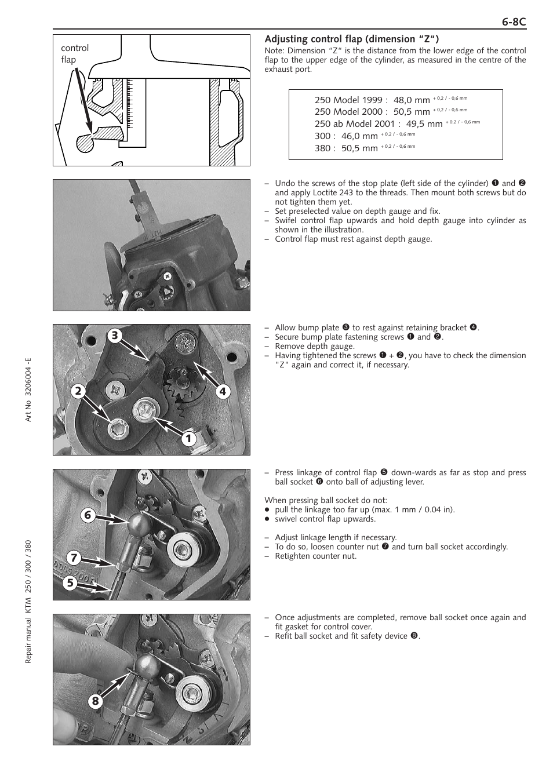 "Adjusting control flap (dimension ""z"") | KTM 250 SX User Manual | Page 63 /  153"