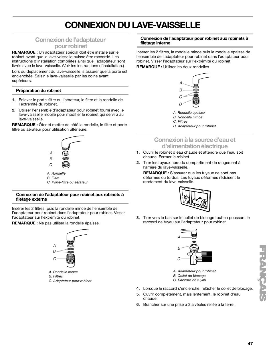 Connexion Du Lave Vaisselle, Connexion De Lu0027adaptateur Pour Robinet |  Kenmore 665.1776