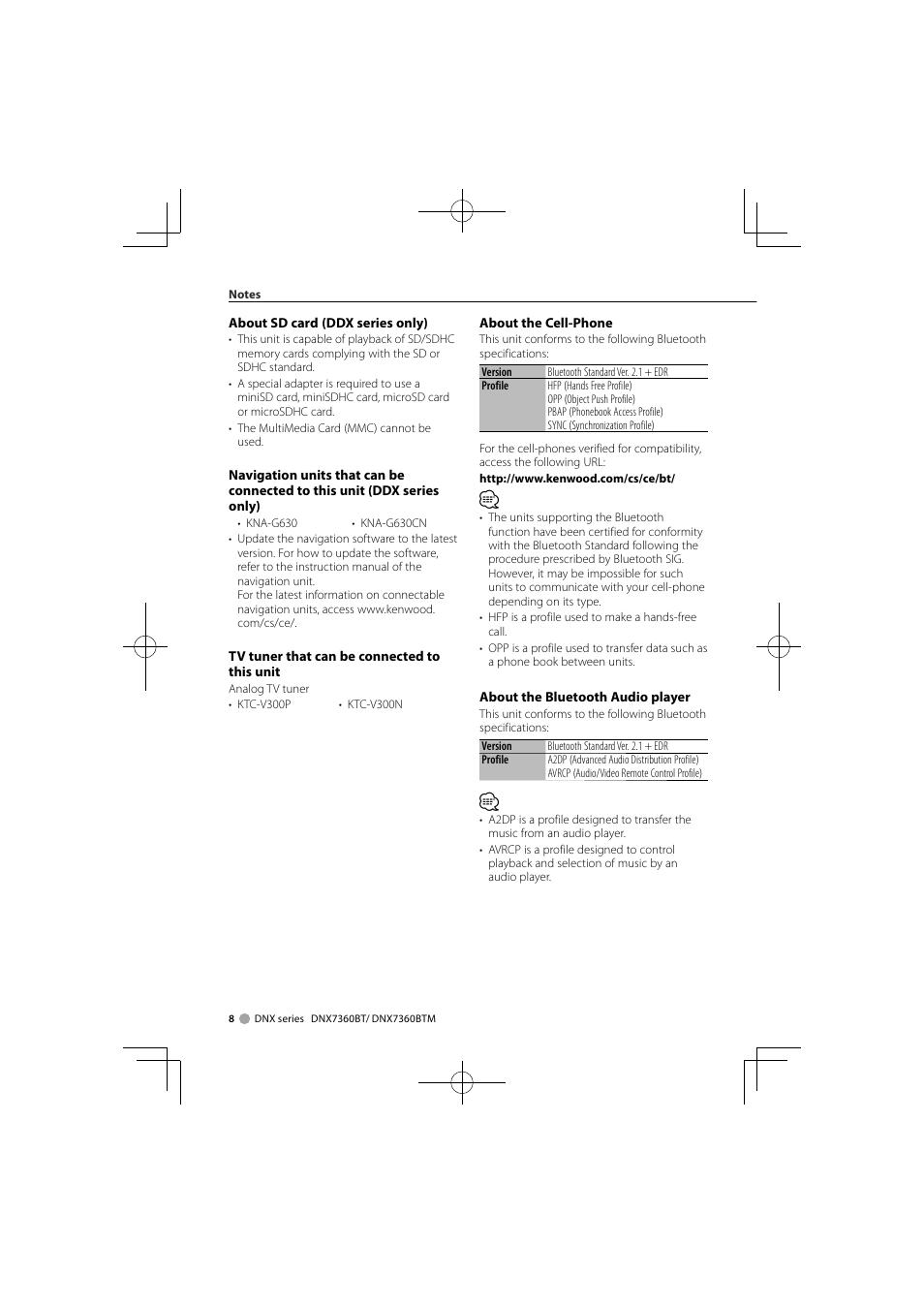 Kenwood DNX7360BTM User Manual | Page 8 / 112 | Also for: DDX7036BTM