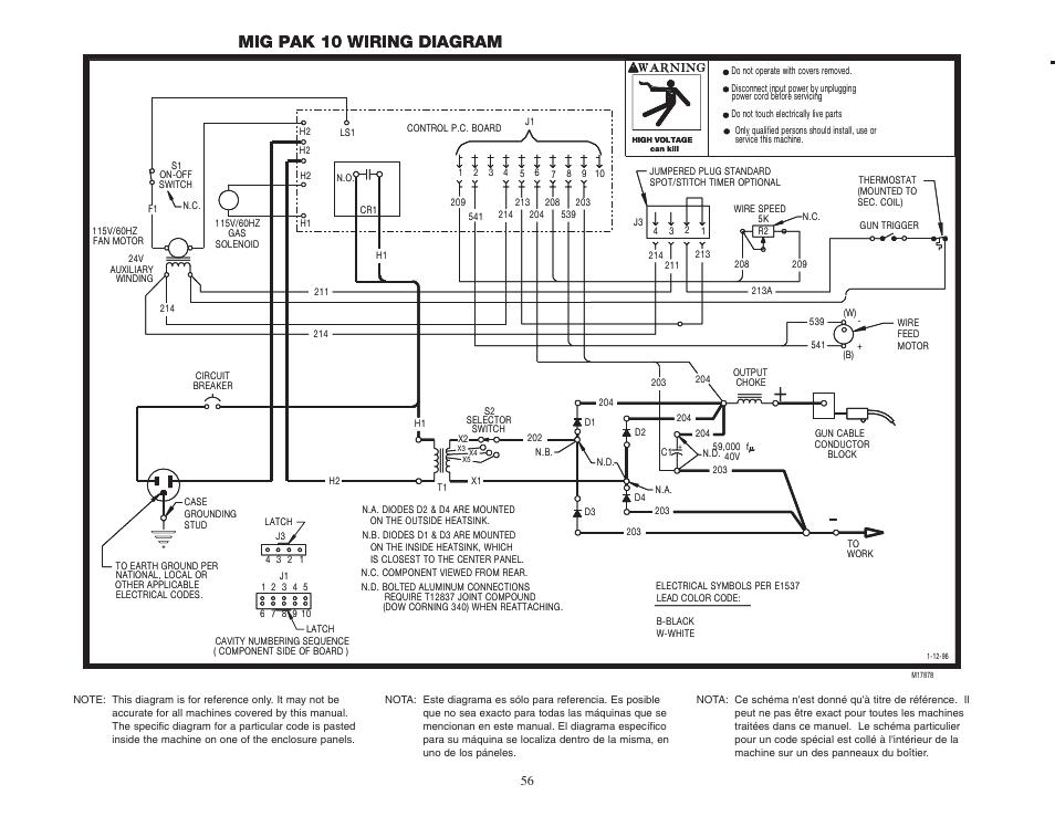 Mig pak 10 wiring diagram | Lincoln Electric MIG-PAK 10 User Manual | Page  56 / 64 | Original modeManuals Directory