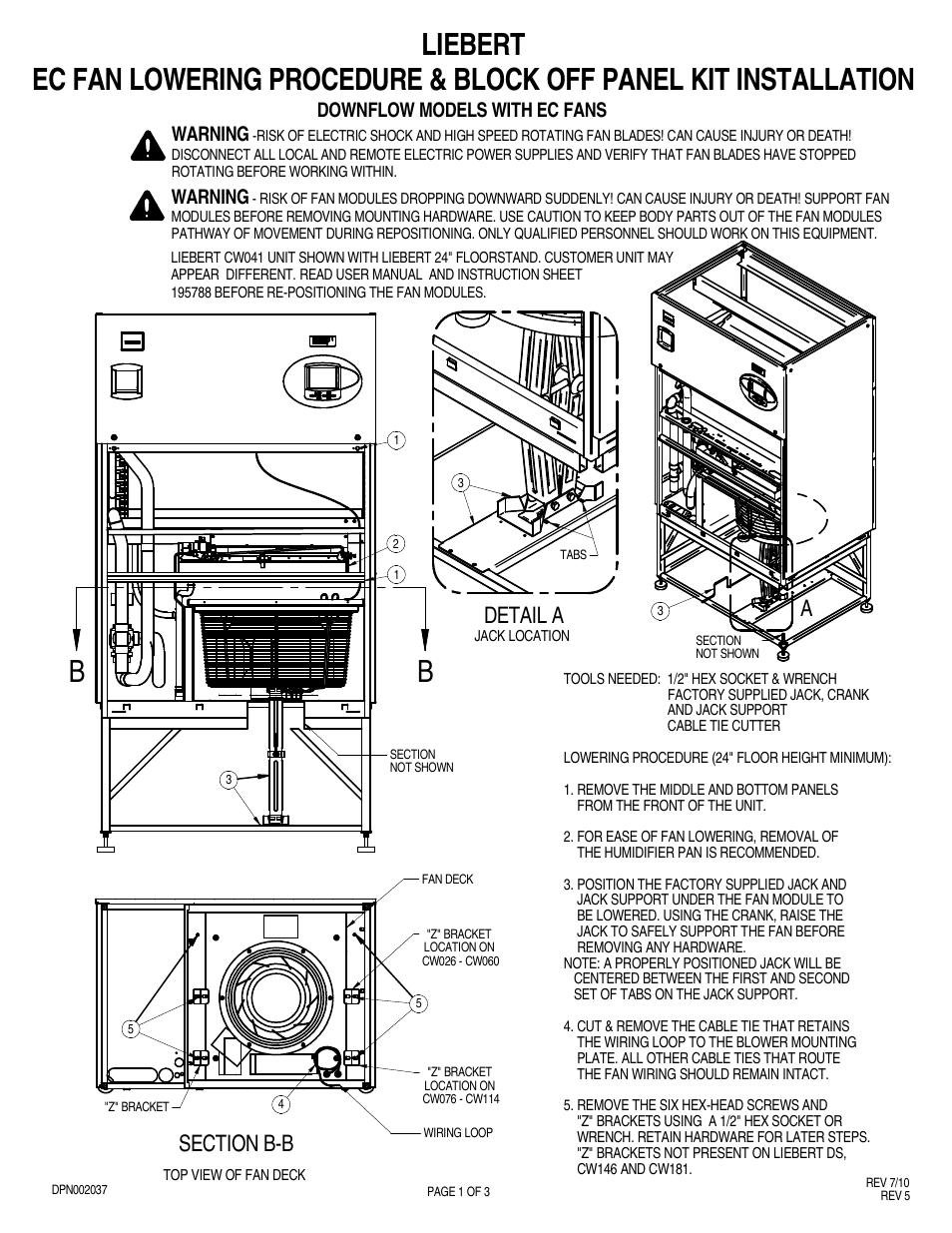 Liebert Ec Fan Cw076 Thru Cw114 User Manual
