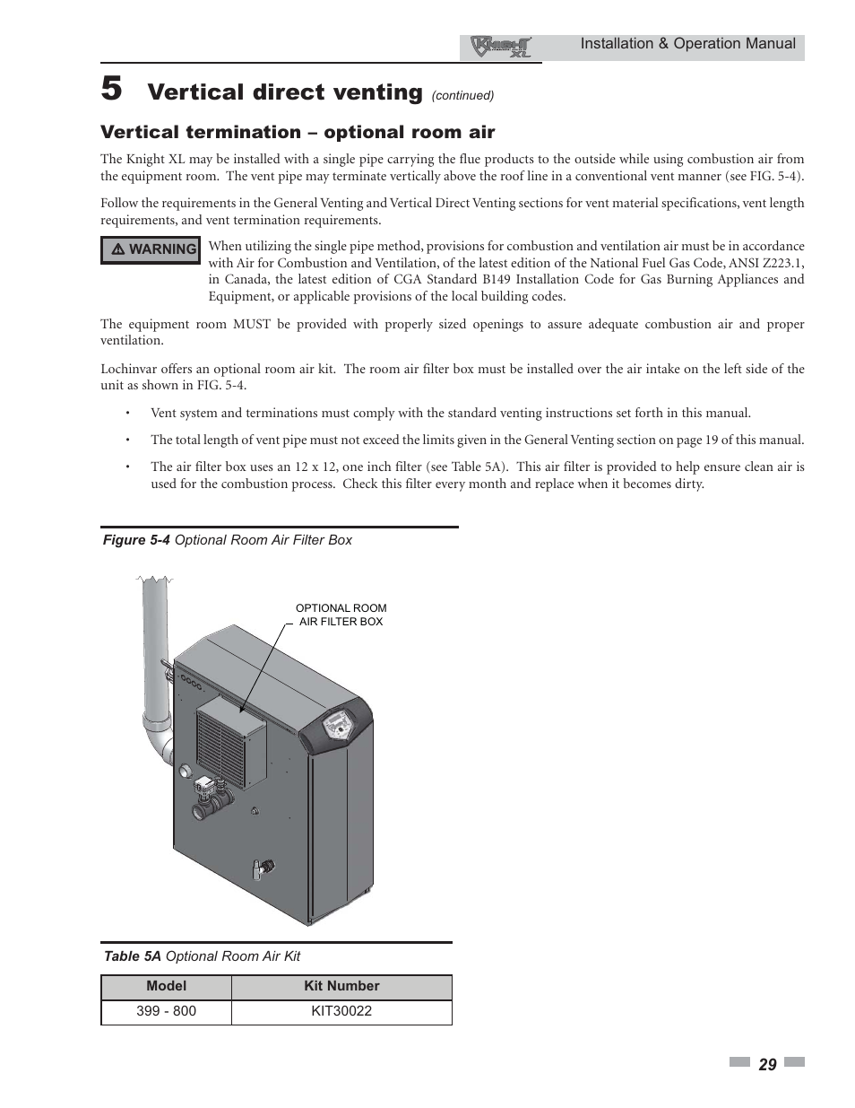 Vertical Direct Venting Vertical Termination Optional